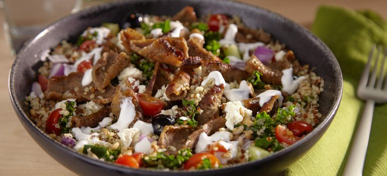 Ancient Greek Grain Bowl - Gyros and Quinoa