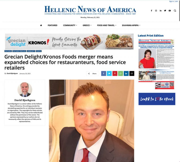 Grecian Delight/Kronos Foods merger means expanded choices for restauranteurs, food service retailers